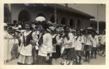 Girls in costume during the May Day celebrations at Tamalpais Centre in Kentfield, California,...