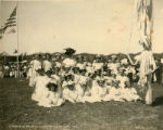 Group of young girls and their teacher in May Day finery, Kentfield May Day Celebration, 1909...