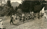 May pole dancers, en route to the Kentfield May Day Celebration, circa 1911 [photographic postcard]