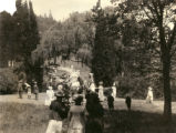 Spectators watching the children parade to the Kentfield May Day Celebration, circa 1911...